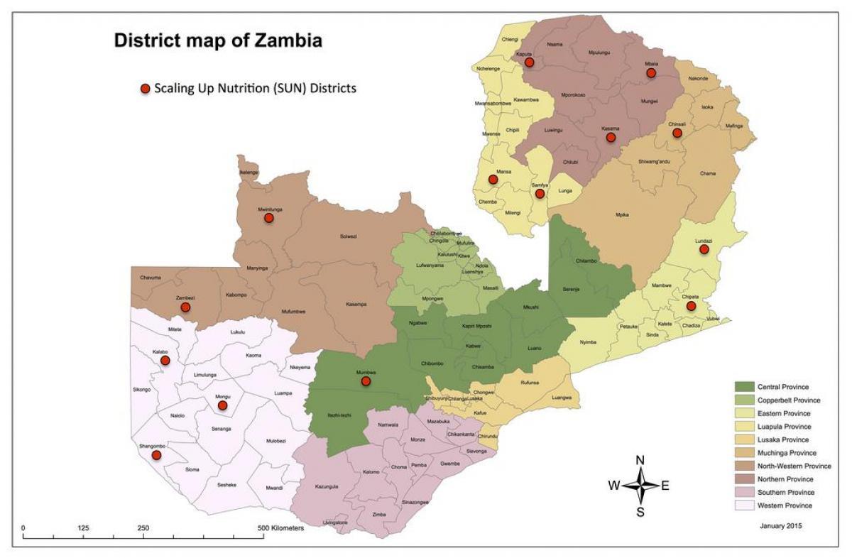 oppdatert kart Kart over Zambia distriktene   Zambia distriktene oppdaterte kart  oppdatert kart